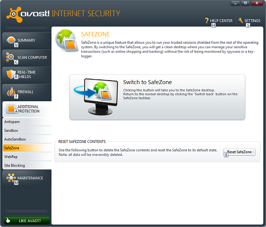 Avast internet security 6 - Safezone