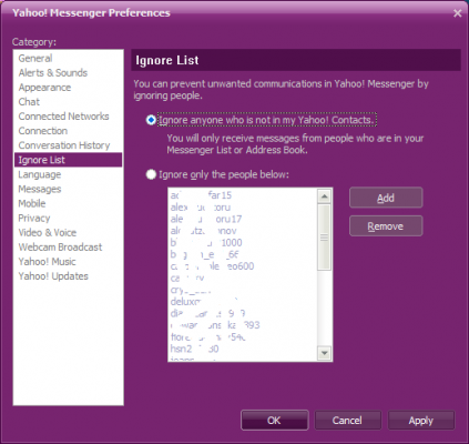 Yahoo messenger - ignore list