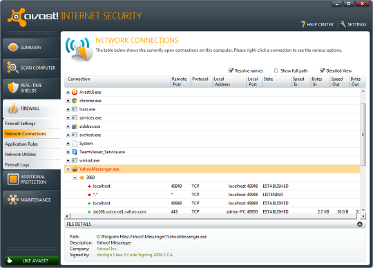 Avast internet security 6 - Firewall port settings