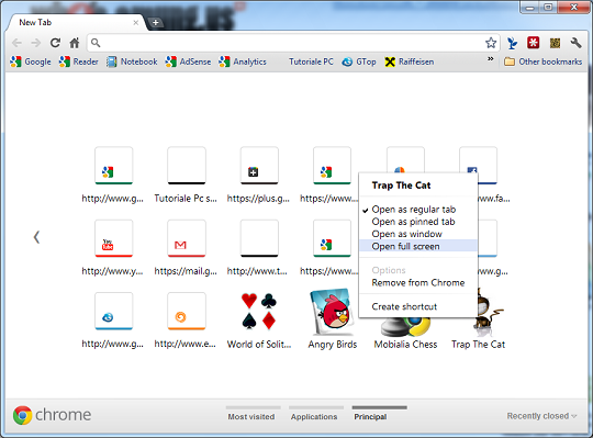 Google Chrome 15 - new tab picture