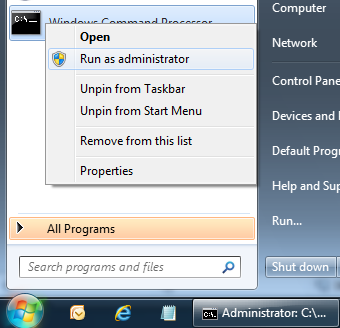 Run comand prompt  as administrator