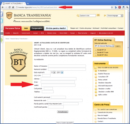 Banca transilvania phishing website