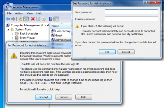 Setare parola la contul de administrator in Windows 7