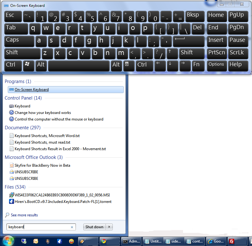 windows 7 keyboard